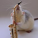 Trying to play the saxophone. by Ellen van Deelen