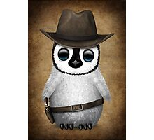 Cute Baby Penguin Wearing Cowboy Hat Photographic Print