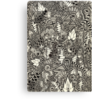 Freehand Black and White Pattern Canvas Print