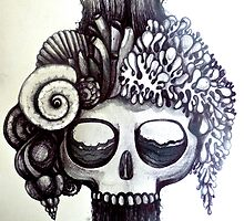 dark ocean skull art by melaniedann