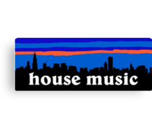 House music, Chicago skyline silhouette Canvas Print