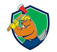 Beaver Lumberjack Wielding Ax Shield Cartoon by patrimonio