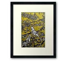Australian Bird Woodcut 2 (Pale Olive) Framed Print
