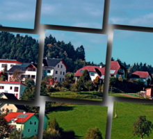 Rural hillside village panorama   landscape photography Sticker