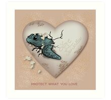Love Sea Turtles - Egg Heart Art Print