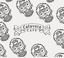 Calavera Cafe Black Skull Logo Pattern by Niki Jacob