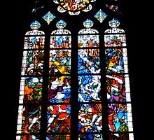 Stained Glass Beaune Cathedral, France by Denise Martin