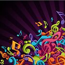 3D Colorful Music Notes by David & Kristine Masterson