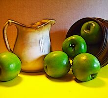 Green Apples with Old Pitcher by suzannem73