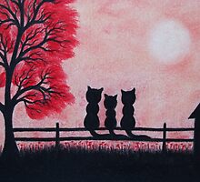 Cats Family with Red Tree and Moon by Claudine Peronne