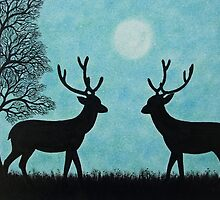 Stags Silhouettes with Tree and Moon by Claudine Peronne