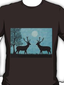 Stags Silhouettes with Tree and Moon T-Shirt