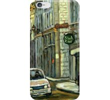 OLD MONTREAL STREET SCENE WINTER PAINTING iPhone Case/Skin