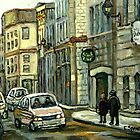 OLD MONTREAL STREET SCENE WINTER PAINTING by Carole  Spandau