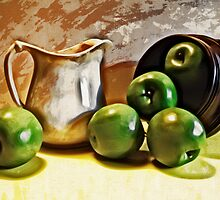 Old Pitcher with Green Apples by suzannem73
