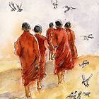 5 Monks in the Sun by Randy Sprout