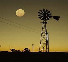sunrise..Moon over the Mill by robert murray