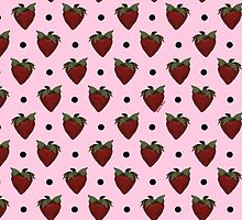 Strawberries and Black Polka Dots with Light Pink Background by StudioBlack