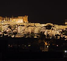 Night view of the Acropolis by Frans Harren