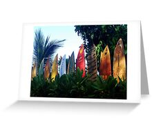 A surfboard fence Greeting Card