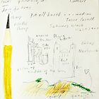 Cathar castle and sharp schwartz pencil by donnamalone