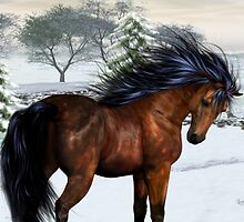 Winters Day .. a stallion in the snow by LoneAngel
