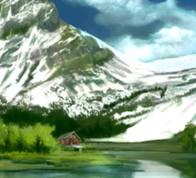 Cold mountains matte painting Sticker