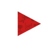 YouTube Play Logo - Full White on Pattern Red Sticker