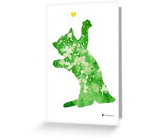 Little cat playing watercolor art print painting Greeting Card