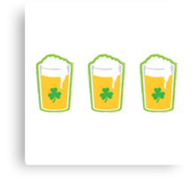 Three irish green shamrock beers pints Canvas Print