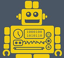 Retro Robot - Navy & Yellow by dearreid