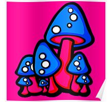 Mushrooms Blue and Pink Poster