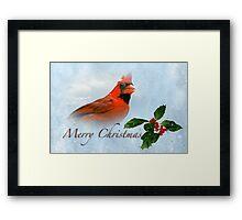 Merry Christmas Cardinal Framed Print