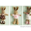 pink &amp; brown bunnies by bunnyknitter