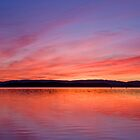 Firey lake sunset by Liz Percival