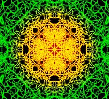"""""""Spirit of India: Cross-Column"""" in grass green and yellow by FireFairy"""