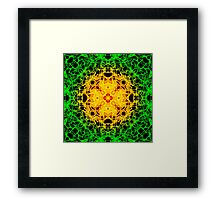 """""""Spirit of India: Cross-Column"""" in grass green and yellow Framed Print"""