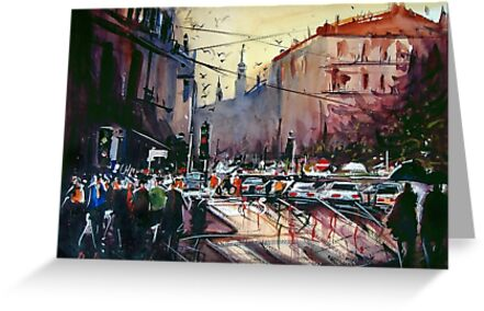 Street in Watercolour by rmassucatto