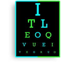 I Love You eye chart -- English, Spanish Canvas Print