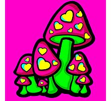 Heart Love Mushrooms Pink and Green  Photographic Print