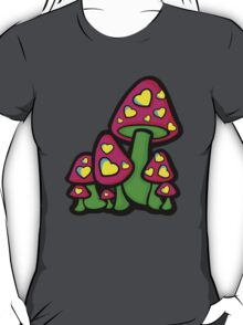 Heart Love Mushrooms Pink and Green  T-Shirt