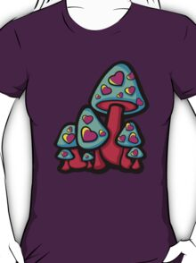 Heart Love Mushrooms Aqua and Pink  T-Shirt