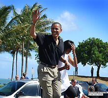 Obama waves to supporters by Greg Kolio Taylor
