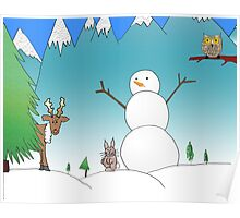 Snowman With His Wildlife Friends Poster