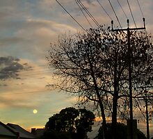 Suburban Moonrise with jets by Brita Lee