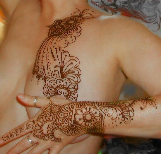 Henna tattoo body work by bajidoo redbubble for Red henna tattoo
