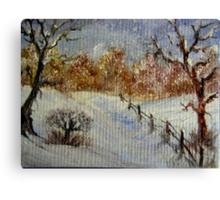 Miniature Snowscape - Oil painting Canvas Print