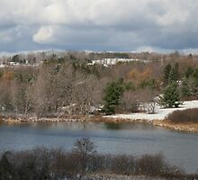 Pano of a snowly lake scene by GPMPhotography
