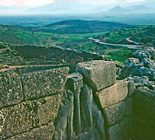 Remains of Lion Gate, Mycenae, Greece, Springtime by Priscilla Turner