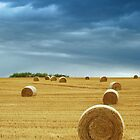 Hay Bales in Field with Stormy Sky by John Kroetch